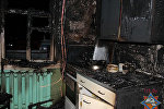 Место пожара в Слониме