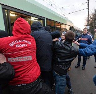 Инцидент на остановке транспорта после Марша нетунеядцев в Минске