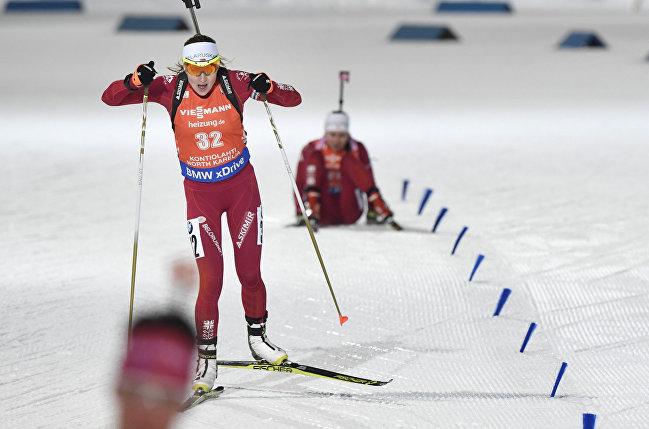 Дарья Домрачева на лыжне в спринтерской гонке в финском Контиолахти