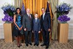 Президент Беларуси Александр Лукашенко принял участие в приеме от имени президента Соединенных Штатов Америки Барака Обамы в честь глав делегаций на 70-й сессии Генеральной ассамблеи ООН, 28 сентября 2015 года