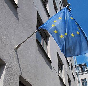 Флаг ЕС на здании Представительства в Минске, архивное фото