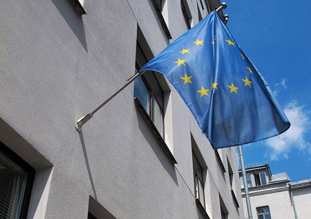 Флаг ЕС на здании Представительства в Минске