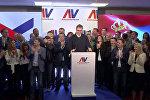 Вучич празднует победу в президентских выборах в Сербии