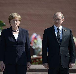 Президент Российской Федерации Владимир Путин и канцлер Федеративной Республики Германия Ангела Меркель