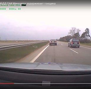 Спецподразделение по ОБДД ГАИ Минщины задерживает гонщика