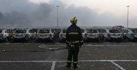 Кітайскі пажарны на месцы выбуху