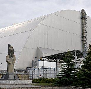 Арка над аб'ектам Сховішча (чацвёрты энергаблок) Чарнобыльскай атамнай электрастанцыі
