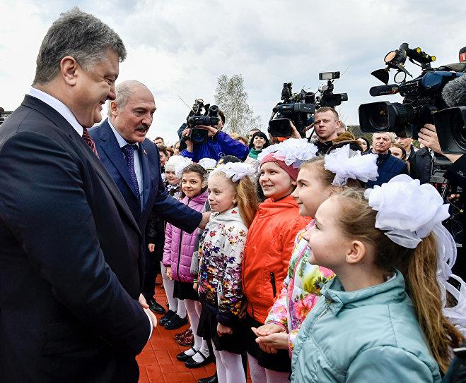 Лукашенко иПорошенко проводят встречу вПетриковском районе