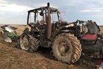 Трактор сгорел в Костюковичском районе