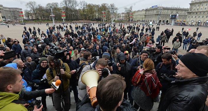Один излидеров белорусской оппозиции схвачен вМинске после акции протеста