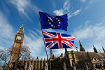 Флаги Великобритании и Евросоюза в центре Лондона