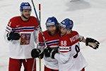 Чешские хоккеисты радуются победе над белорусами
