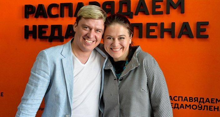 Белорусские спортсмены-велосипедисты Евгений Гуторович и Наталья Цилинская
