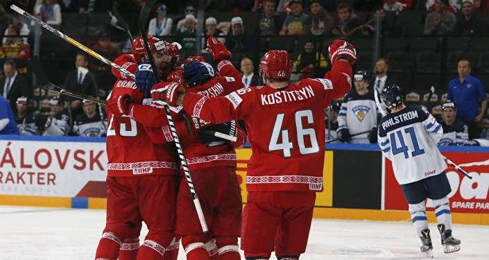 Хоккеисты сборной Беларуси на ЧМ-2017