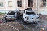 Сгоревшие в Минске легковушки