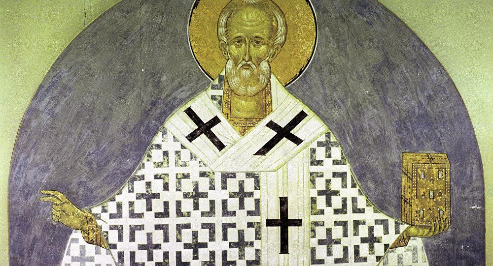 Фрагмент копии фрески Святой Николай Чудотворец