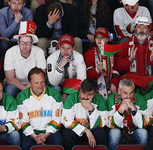 Болельщики сборной Беларуси на хоккейном матче, архивное фото