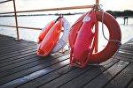 Спасательные жилеты на спасательной станции