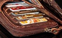 Кошелек с банковскими карточками, архивное фото