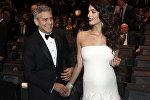 Голливудский киноактер Джордж Клуни и его супруга Амаль