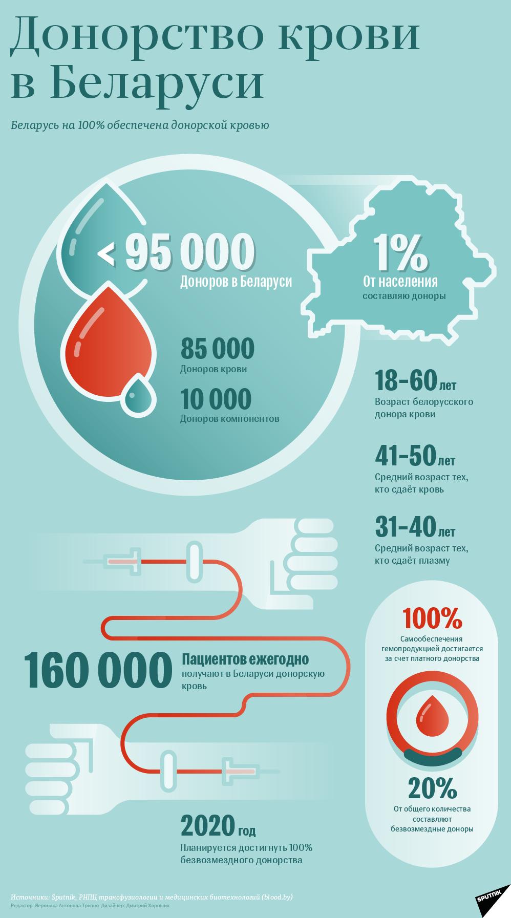 Донорство крови в Беларуси – инфографика sputnik.by
