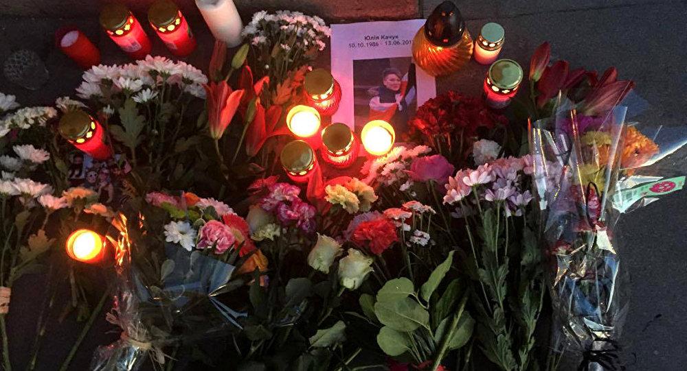 Цветы на месте гибели Юлии Качук