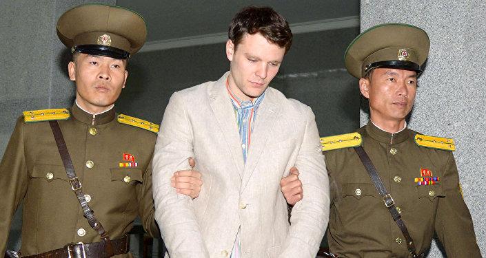 Отто-Фридерик Уормбиер в Верховном суде Пхеньяна в марте 2016 года