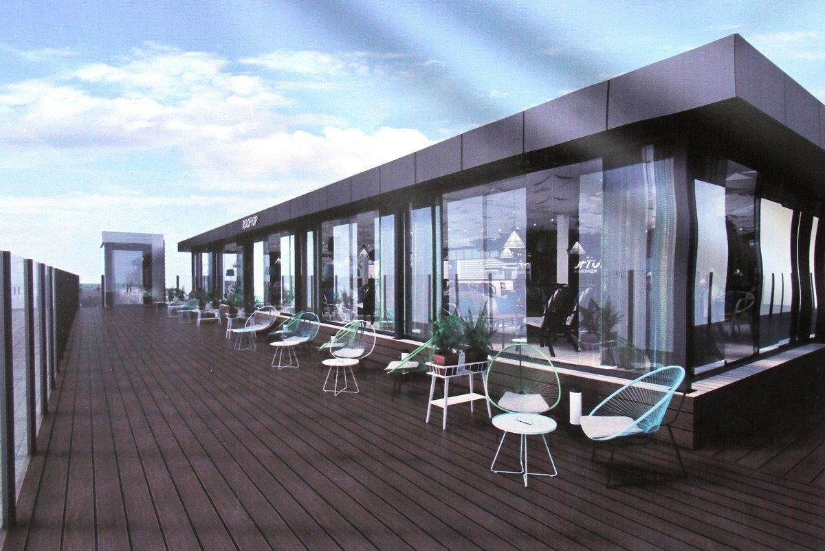Примерно так будет выглядеть новое кафе на крыше - посидеть в нем можно будет и в дождь