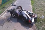 Разбитый в результате ДТП мотоцикл