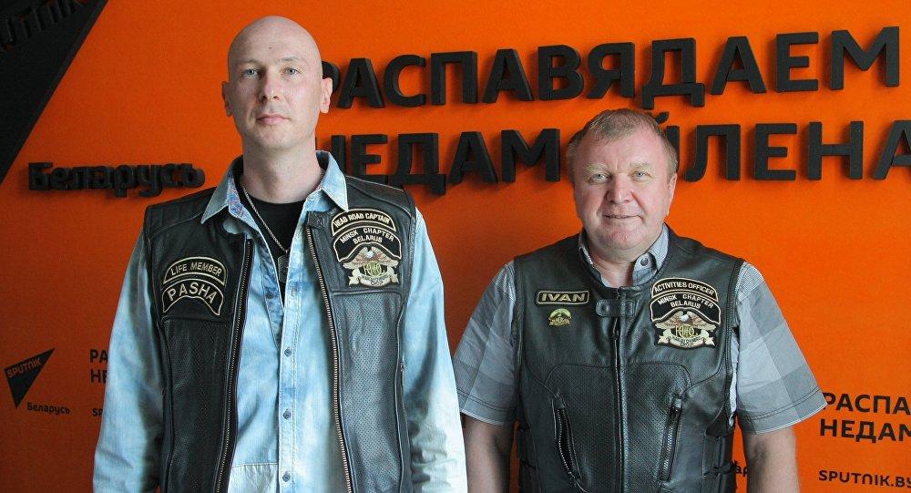 Прадстаўнікі клуба Minsk Chapter Belarus Harley Owners Group Павел Баранаў і Іван Чура