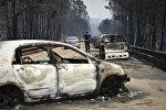 Сгоревшие машины в Португалии