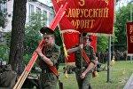 Участники парада тренируются на плацу военной комендатуры в Уручье
