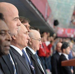 Президент РФ В. Путин и премьер-министр РФ Д. Медведев посетили первый матч Кубка конфедераций-2017