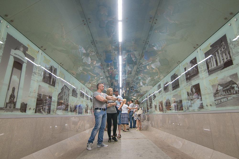 Падземны пераход каля перасячэння Пушкінскага праспекта і вуліцы Чалюскінцаў ператварыўся ў выставу рэтрафотаздымкаў Магілёва.
