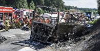 Сгоревший в результате ДТП автобус