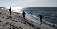 Отдыхающие гуляют по берегу Балтийского моря