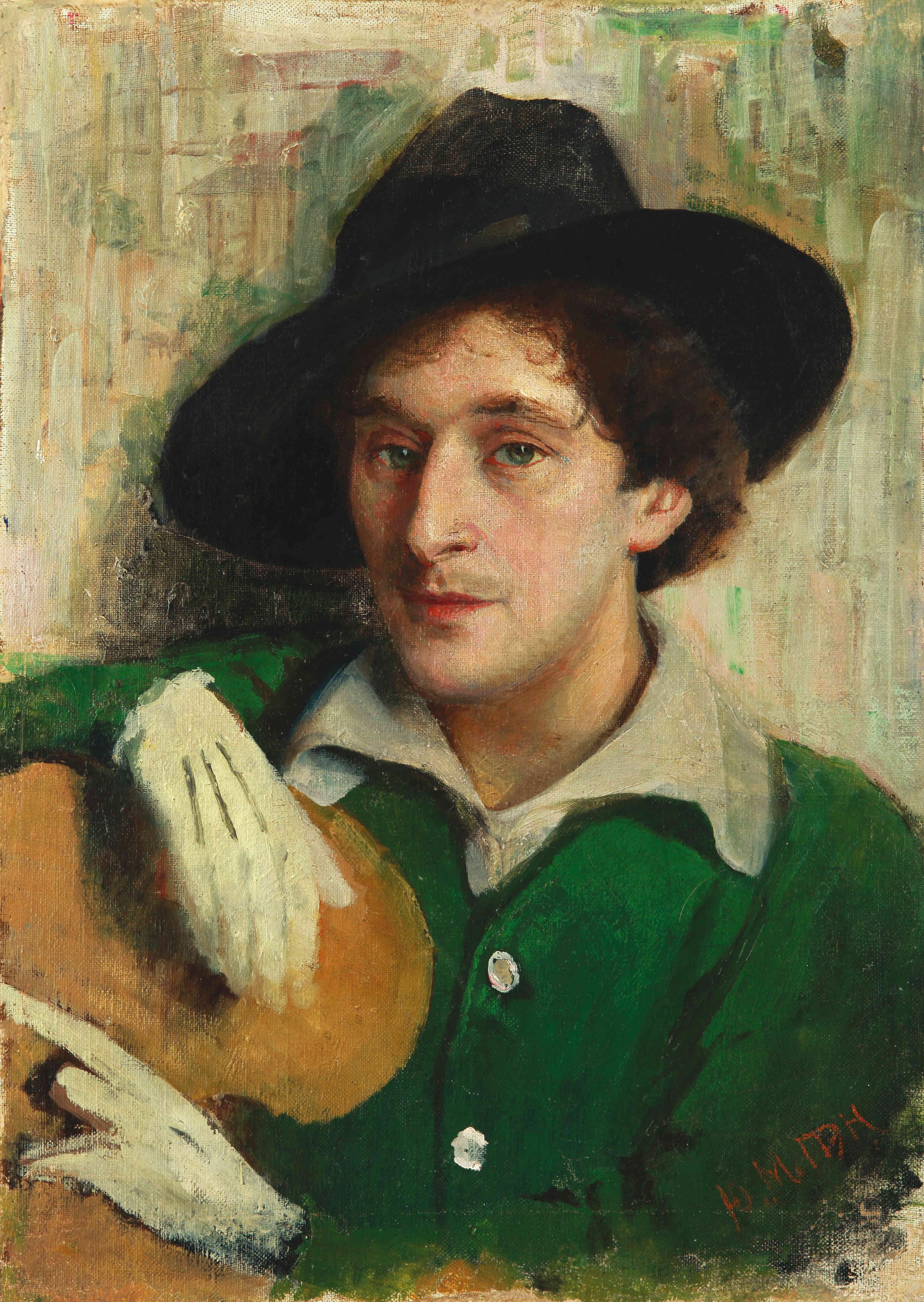 Портрет Марка Шагала, написанный Иегудой (Юделем) Пэном - молодой художник только что вернулся из Парижа и выглядит настоящим франтом