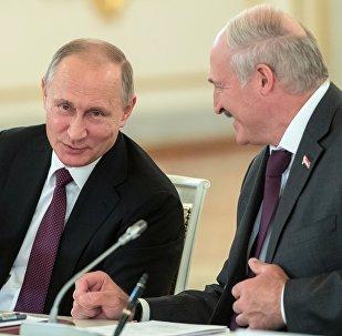 Президенты РФ и Беларуси В. Путин и А. Лукашенко