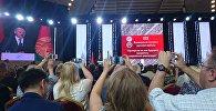 Аляксандр Лукашэнка выступае на Кангрэсе рускай прэсы