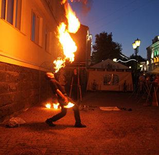 Вогненыя шоу праходзілі ў некалькіх частках цэнтра горада