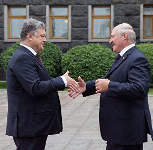 Прэзідэнт Беларусі Аляксандр Лукашэнка з прэзідэнтам Украіны Пятром Парашэнкам у Кіеве