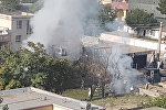 Вид на место взрыва в Кабуле