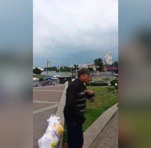 Мужчина на Немиге разговаривал с птицами о Беларуси, видео