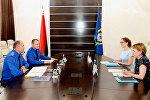 Встреча главы СК Ивана Носкевича с замглавой представительства ЮНИСЕФ в Минске Габриэллой Акимовой