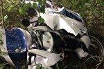 Разбитый в результате аварии мотоцикл BMW