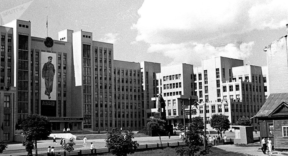 Вид на здание Дома правительства в Минске (1938 год)