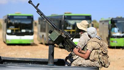 Боевики с зенитным пулеметом в Сирии, архивное фото