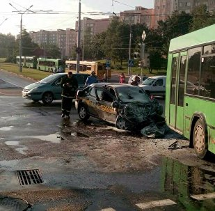 ДТП такси и рейсового автобуса в Минске