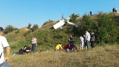 Место крушения самолета в Румынии