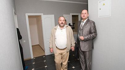 Генеральный директор ЗК «Настюша» Игорь Пинкевич и руководитель департамента строительства Олег Силич на презентации нового дома в микрорайоне Царицино